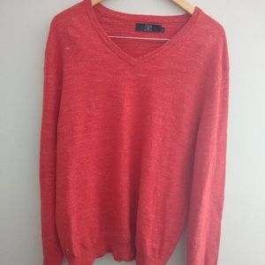 Mens J Crew Textured Cotton V Neck Sweater